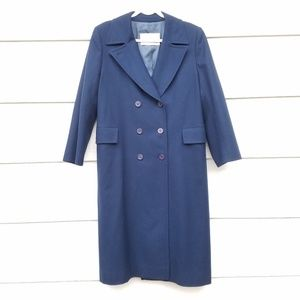 Navy double breasted trench coat with pockets